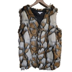 Loveriche Printed Faux Fur Sleeveless Vest